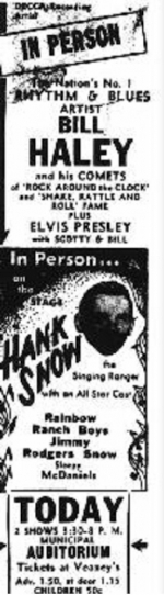 Ticket der Package-Tour mit Haley, Hank Snow und Elvis Presley